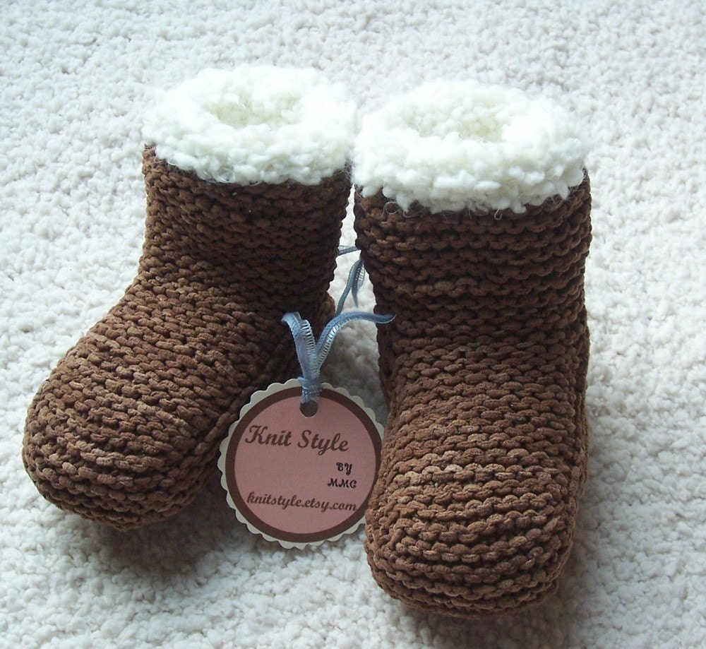Hand knit baby SNUGGS TM - Knitstyle's version of the popular UGG Boots.