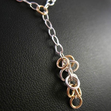Red Panda Chainmaille - 14k and Sterling Valletta Necklace :  14 karat gold sterling gold jumprings