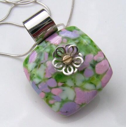 Etsy :: Floral Garden Art Glass Pendant