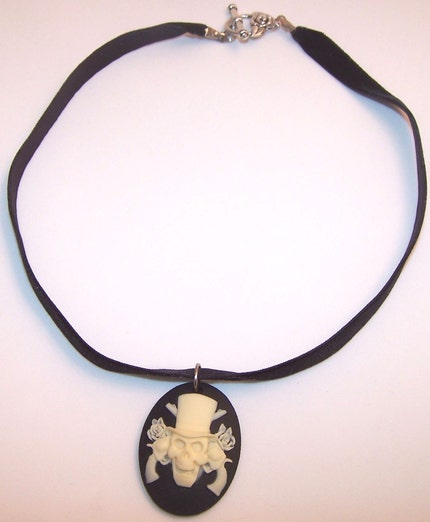 Etsy :: Velvet Ribbon and Guns and Roses Skull Cameo Choker Necklaces