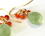 Prehnite and carnelian cluster earrings in 14K goldfill