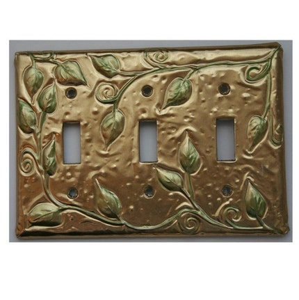 Etsy :: Triple Brass Light Switch Cover Vine and Leaf