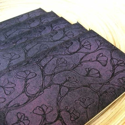 Etched Magnolias - Moleskine Cahier Journal Notebook - Gocco Printed - Lined