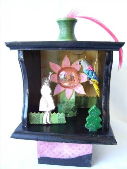 Etsy :: WONDER altered art shadowbox assemblage shrine girl bird flower