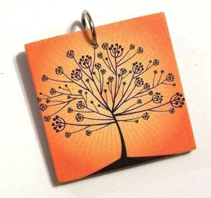 Tree on Orange Pendant - Small