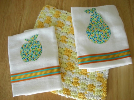 Pear and Apple Appliqued Dish Towels and Crocheted Dish Cloth Set