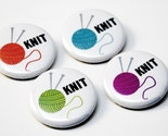KNIT pinback button - yarn and needles