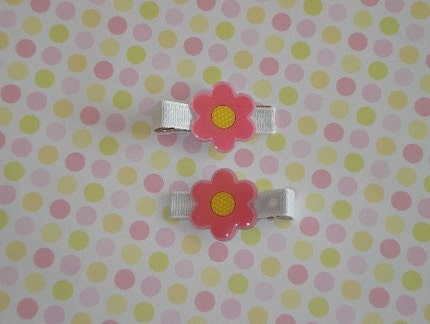 Springtime Pink Flower Hair Clips-Limited Edition-Tween or Child