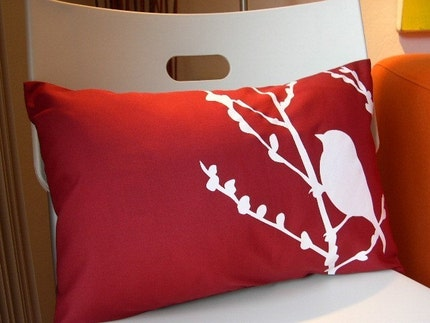 Etsy :: Red Bird on Cherry Blossom Pillow from etsy.com