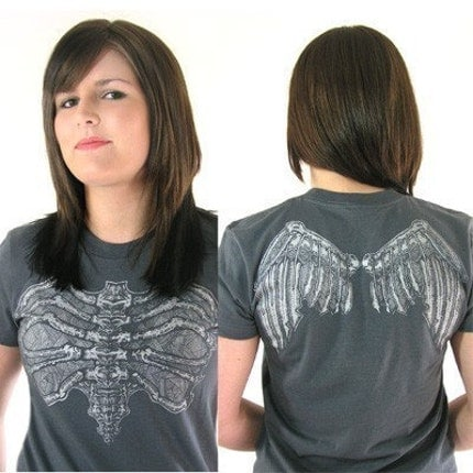 Etsy :: Womens Skeleton Angel Top Poison Apple Shirts DIY Tattoo Wings DIY