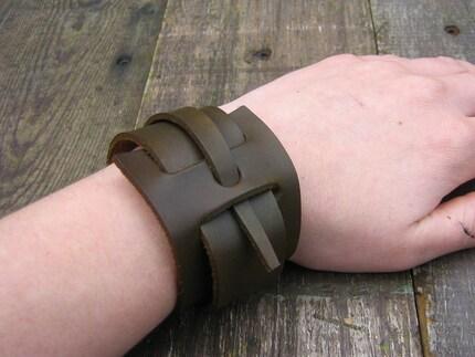 cut leather cuff bracelet