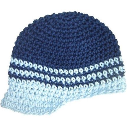 3-6 Month Visor Beanie - navy, baby blue