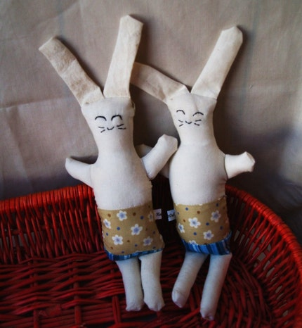 Easter rabbit pair SMALL white bunnies