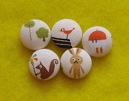 Fabric Covered Buttons Handmade Using Kooky Japanese Animal Town Fabric