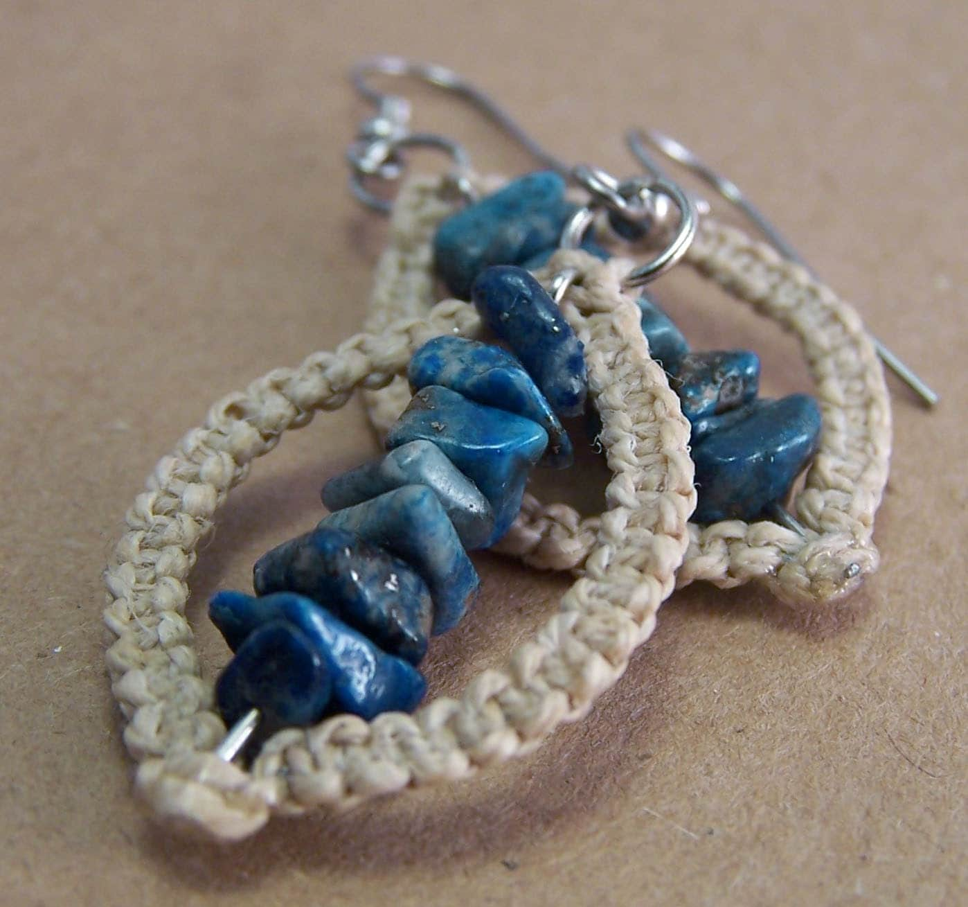 Convex- Macrame Earrings with Denim Lapis Lazuli chip beads