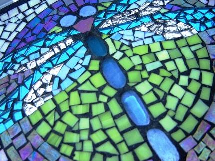 Etsy Gardengoddessmosaics GLASS DRAGONFLY MIRRORED WINGS MOSAIC