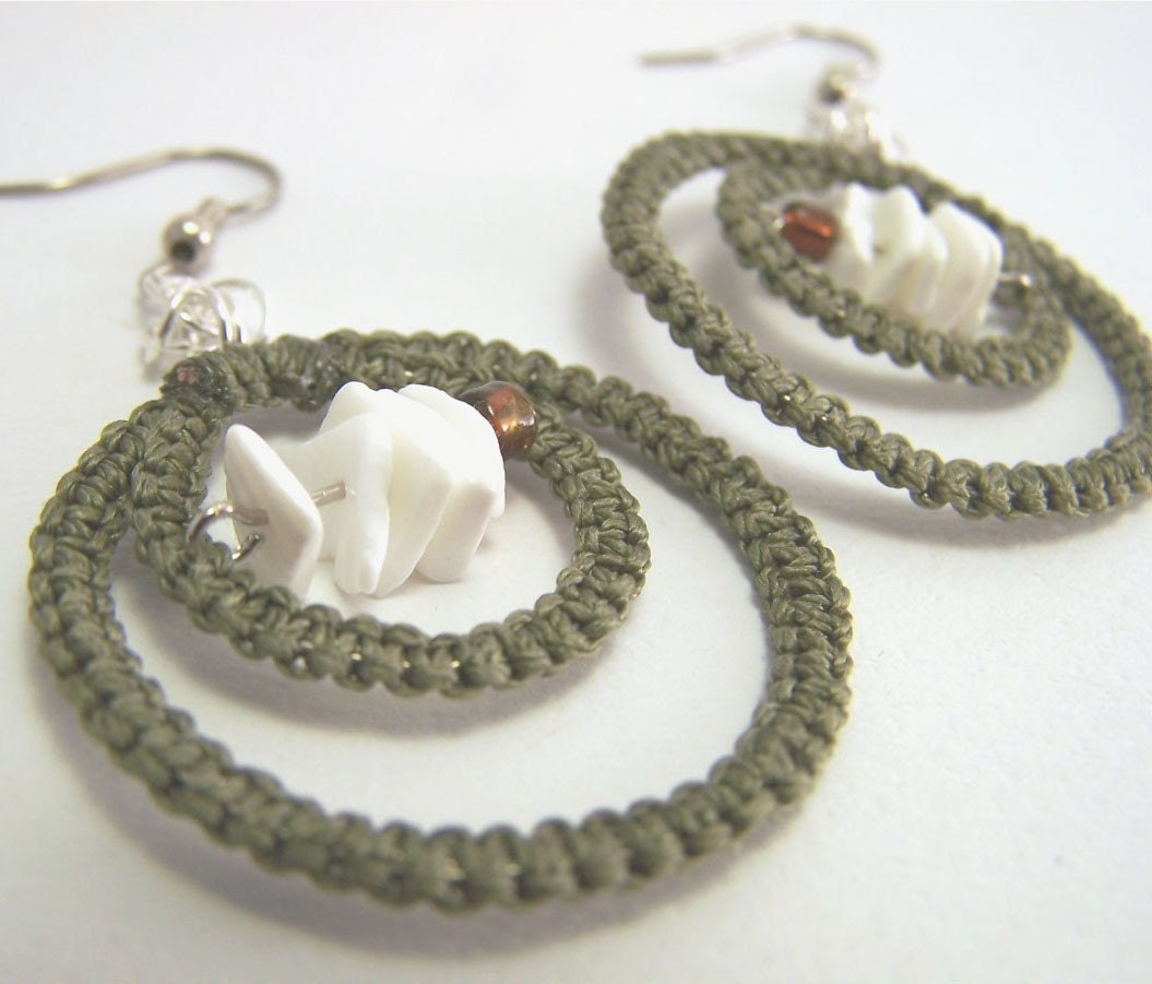 Tangent Redux in Olive- Macrame, Asymmetrical and Chainmaille Earrings