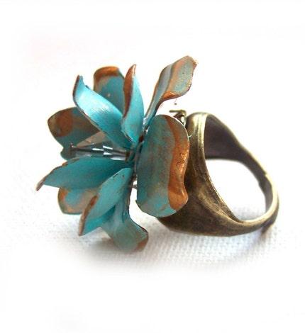 Etsy :: Gorgeous Aqua Blue Flower Ring with Swarovski Crystal Center from etsy.com