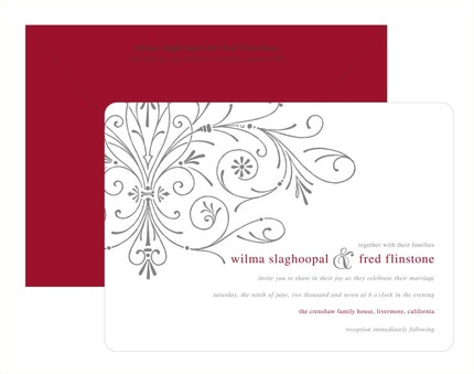 Wedding Invitations - Digital - Scroll of Hearts - 100 sets