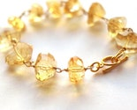 Crystal Honey bracelet - citrine and gold filled vermeil clasp