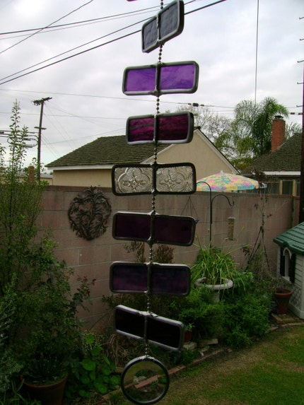 stained glass wind chimes. 1 1/8 stained glass panels