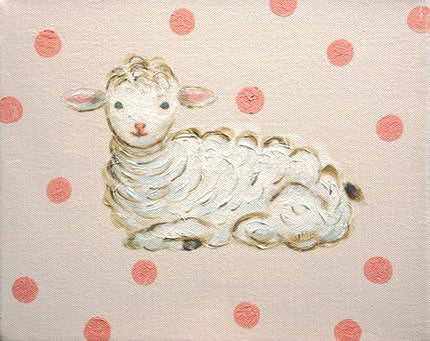 Little Sheep - Original acrylic painting - Custom color available