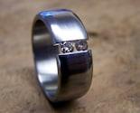 Titanium and Diamond Ring (double tension-set)