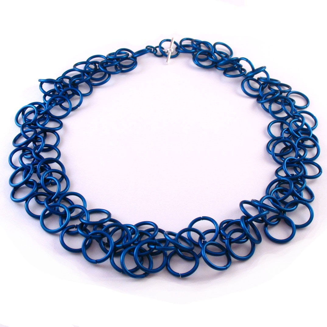 Red Panda Chainmaille - Midnight Blue Fringe Necklace :  metals womens handcrafted women