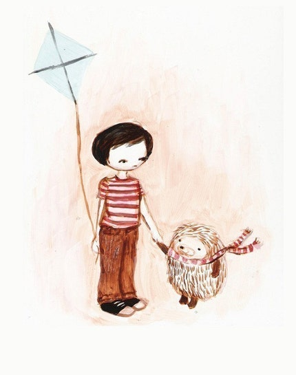 Boy and Hedgehog on a Windy Day Print