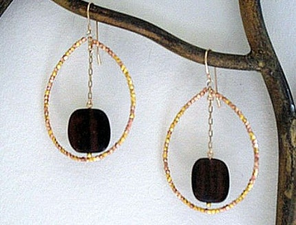 Etsy :: pink gold and wood hoops from etsy.com