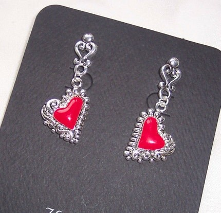 Etsy :: The Color of My Heart Red and Silver Post Earrings from etsy.com