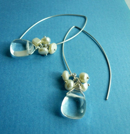 Blast Earrings in Crystal Quartz and Shell -- Beautiful for a wedding or for any day