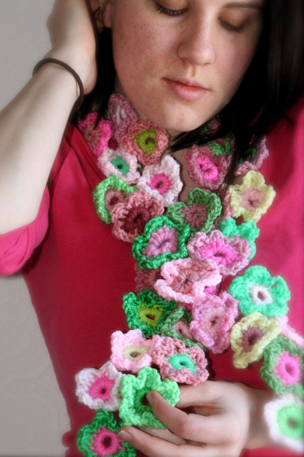 crochet flower scarf  group picture image by tag  keywordpictures  Crochet Flower Scarves