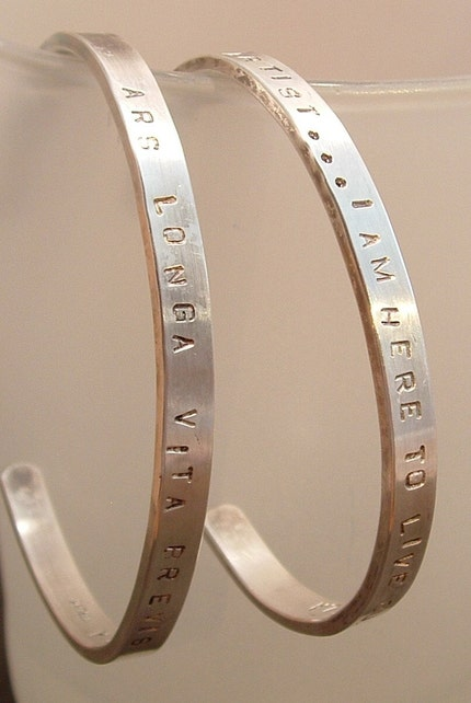 CUSTOM Quotation Inspiration Bracelet YOU CHOOSE Quote Sterling Silver Engraved Hand Stamped