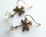 Dragonfly Dreams earrings - brass goldfill and prasiolite