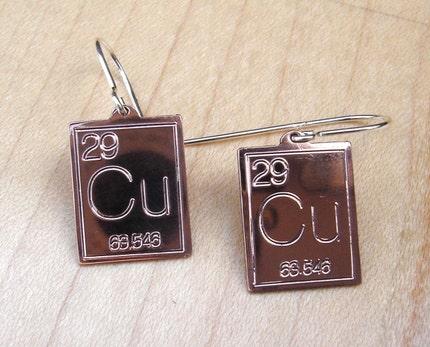 Atomic Symbol For Copper Earrings