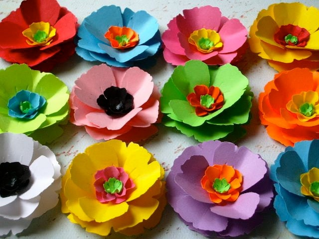 Poppy Love Paper Flowers - Assorted Colors - set of 12