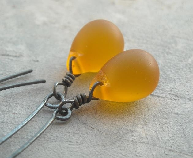 Frosted honey drop silver oxidized handmade earring