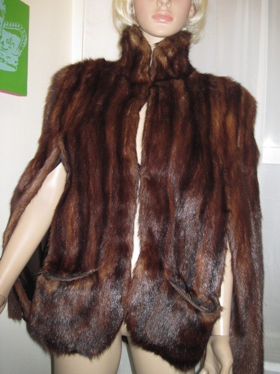 Holiday Sale Prices Slashed -- Mahogany Mink Cape 1940s Exquisite