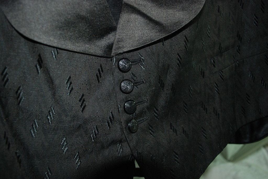 1900s Mens Vest Diamond Pattern Fabric Tiny Buttons Classy  Black Victorian Edwardian Steampunk