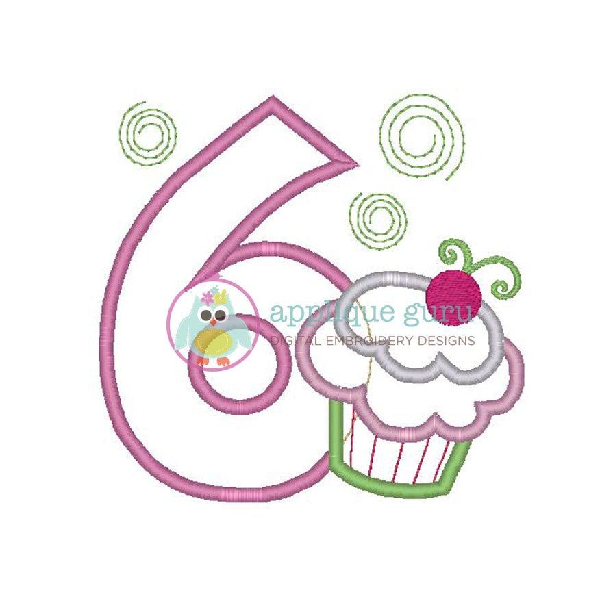 Cupcake party six birthday applique machine by appliqueguru