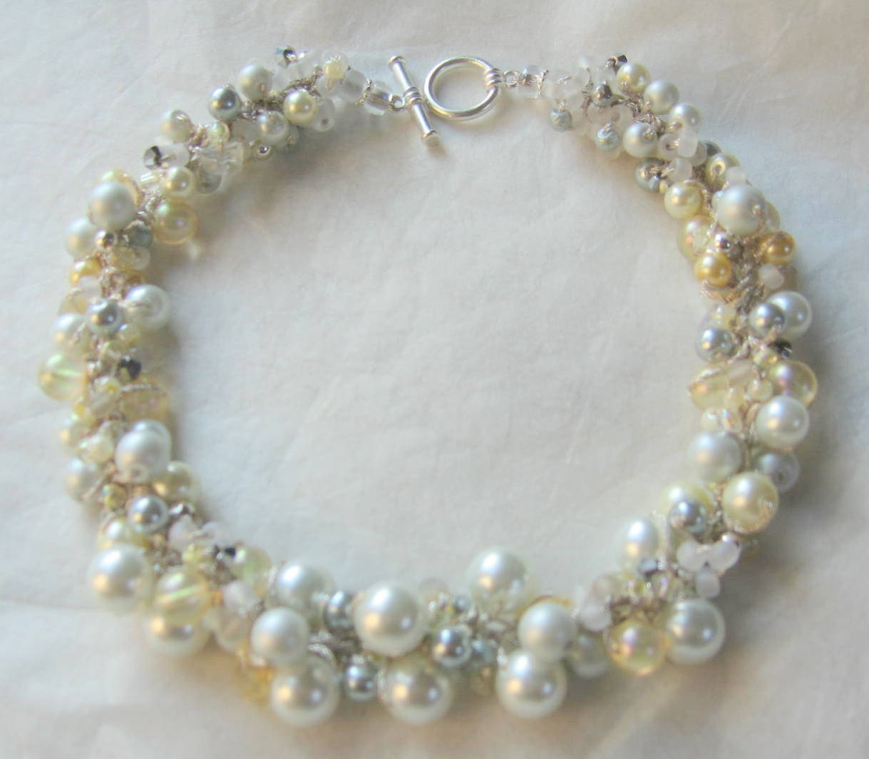Striking Bridal Bridesmaid Wedding Jewelry - Pearl Crystal Statement  Necklace - Pale YELLOW SILK - Ivory,White, Silver Gray, Smokey Quartz
