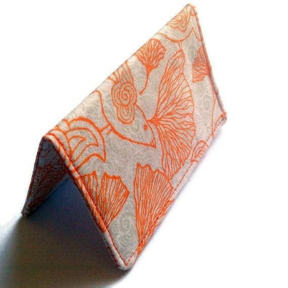 Card Wallet - Ginkgo Birds Orange Cream  - Girls night out, credit card, gift card holder