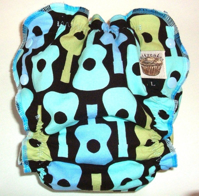 SALE Large Cloth Diaper - Groovy Guitars - Fitted Fattycakes