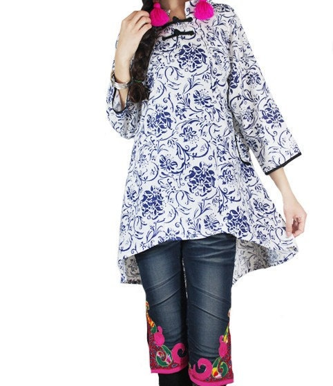 flowers blue and white Asymmetric Long sleeves or short sleeves shirt
