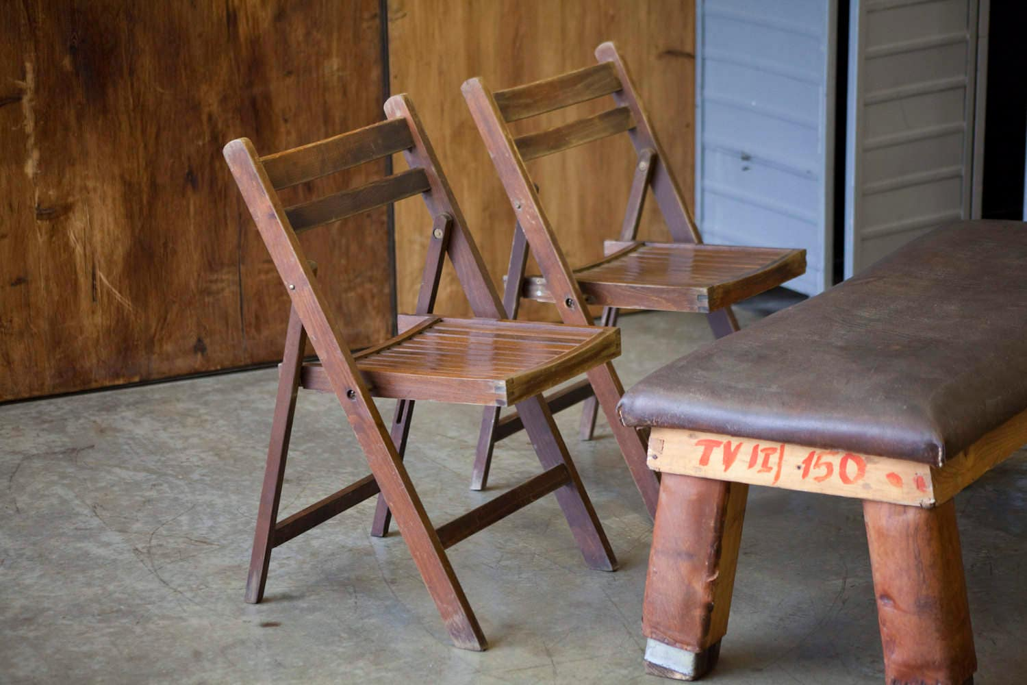 Dark wood vintage folding chairs for dining table or desk
