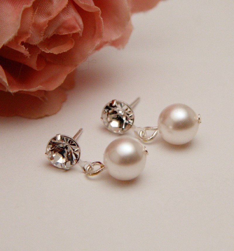 Pearl and Rhinestone Stud Bridal Earrings