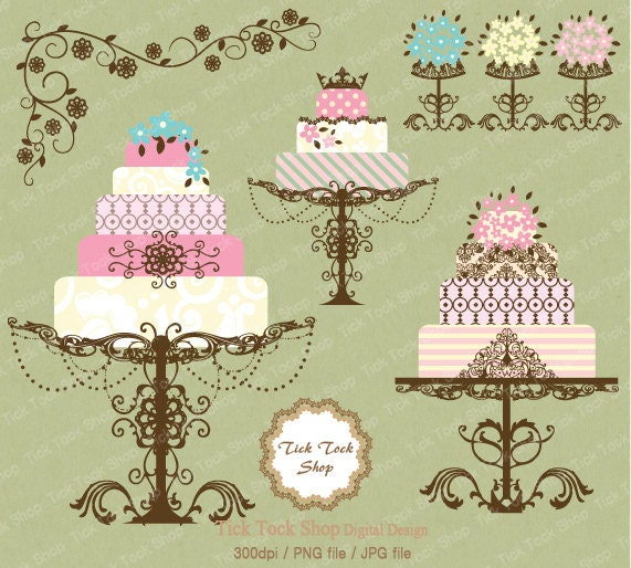 Wedding Cakes and Flowers SET 02 6 inch Clip Art From KangByeol