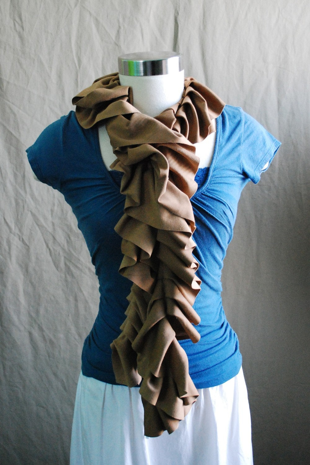 Fancy Ruffle Scarf in Camel