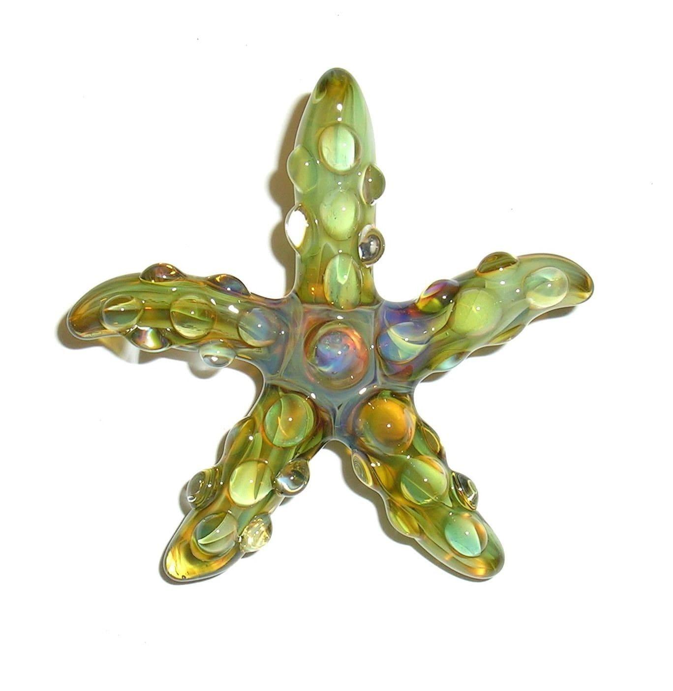 Lampwork Boro Glass Flat Pendant - Focal Bead - Starfish